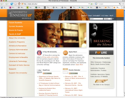The University of Tennessee website redesign screenshot