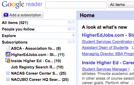 Using RSS to conduct a student affairs job search